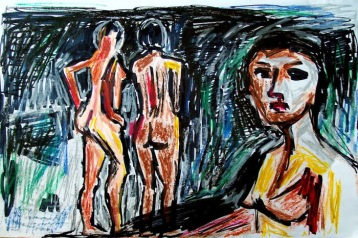 Allen-Forrest-Bay-Area-Figurative-Revisited-David-Park_2_ink_oil_pastel_12x18_2014_w